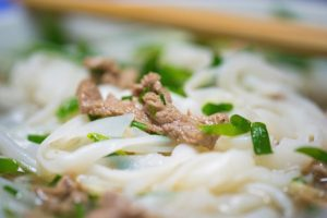 Close-up view of Vietnamese noodle soup